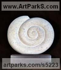 Bath Stone on Wood Indoor Inside Interior Abstract Contemporary Modern Sculpture / statue / statuette / figurine sculpture by Nicola Beattie titled: 'Ammonite (Carved stone Fossil garden/Yard statues)'