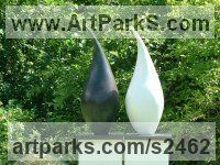 Cold cast Bronze and Cold Cast Marble Minimalist Understated Abstract Contemporary Sculpture statuary statuettes sculpture by Nicola Beattie titled: 'Shadow Clone (abstract Tear Drop garden/Yard statue)'