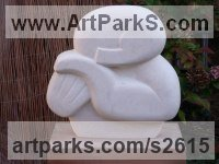 Ancaster Hard White - Limestone Human Form: Abstract sculpture by Nicola Beattie titled: 'Slumber (Carved stone abstract Sleeping Head Bust Carving statues)'