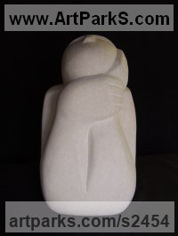 Portland Stone Human Form: Abstract sculpture by Nicola Beattie titled: 'To Gaze and Wonder (Stone Outdoor Torso garden statue)'