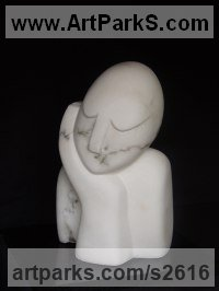 Italian Alabaster Stylized People sculpture by Nicola Beattie titled: 'To Sit and Dream (Day Dreaming garden sculpture)'