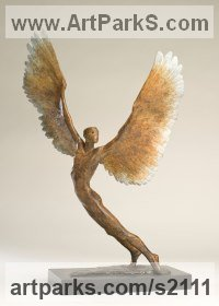 Bronze Garden Or Yard / Outside and Outdoor sculpture by Nicola Godden titled: 'Icarus III (Bronze small Size Icarus Flying statue)'