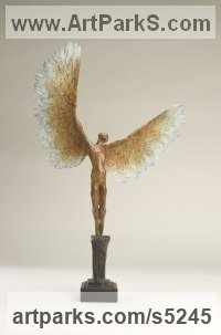 Bronze Objects of desire sculpture by Nicola Godden titled: 'Icarus VI (bronze Taking/Launching Off Small statue)'