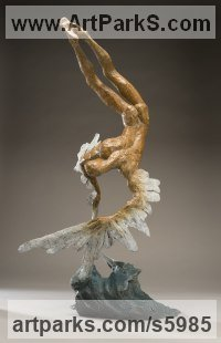 Bronze Nudes / Male sculpture by Nicola Godden titled: 'Icarus VII (Small Falling with Melting Wings statue)'