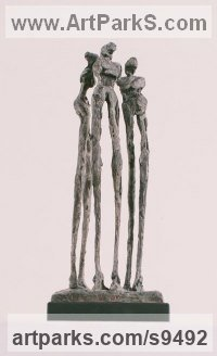Bronze Stylized People sculpture by Nicola Ravenscroft titled: 'Three Graces (Little abstract Bronze statuette)'