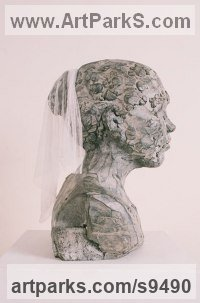 Bronze Figurative Public Art sculpture by Nicola Ravenscroft titled: 'Young Madonna (Contemporary Girl`s Bust statue)'