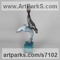 Bronze Aquatic Sculptures Fish / Shells / Sharks / Seals / Corals / Seaweed sculpture by Nicolas Pain titled: 'Grey Seals (Bronze Cavorting Playing Swimming statue)'