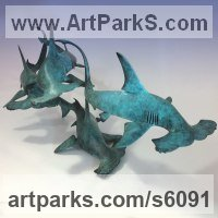 Foundry Cast Bronze Wild Animals and Wild Life sculpture by Nicolas Pain titled: 'Hammerhead Sharks (bronze swimming Fish Shoal statues/statuettes)'