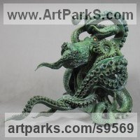 Bronze American Animal Bird Reptile and Fish Sculptures, Statues, statuettes, figurines sculpture by Nicolas Pain titled: 'Octopus III (Bronze Patinated Indoor Realistic statue)'