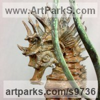 Foundry Cast Bronze Other Aquatic Creatures Seahorse Star Fish Jellyfish Sea Urchins Sculptures Statues sculpture by Nicolas Pain titled: 'Spiny Seahorse'