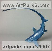 Bronze Sharks Rays Devil Fish Dogfish Sculptures Statues sculpture by Nicolas Pain titled: 'Thresher Shark (Small Blue Indoor statuette sculpture)'