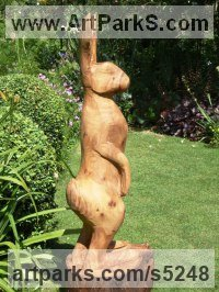 Elm Wood Hares and Rabbits sculpture by sculptor Nigel Sardeson titled: 'Hare (life size Carved Wood Mad March Standing Alert sculptures/statue)'