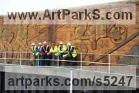 Greenheart lock gates Carved Wood sculpture by sculptor Nigel Sardeson titled: 'Navvies Mural (Large Out Size Carved Wood Low Relief Memorial statues)'