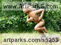 Elm wood Carved Wood sculpture by sculptor Nigel Sardeson titled: 'Running Girl (Wooden Child Playing/scampering/sprinting carving/statue)'