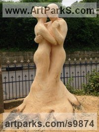 Wood, Lime/linden Carved Wood sculpture by Nigel Sardeson titled: 'Tango (Dancing Couple Carved Tree Wooden sculpture)'