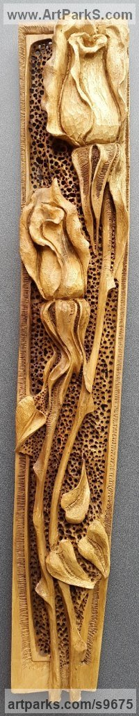 Carved Wood sculpture by NIKOLAY NIKOLOV titled: 'Roses (Contemporary Carved Wood Flower sculpture)'