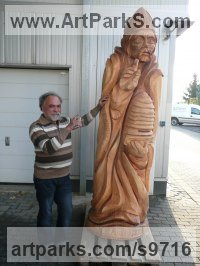 Beech wood Public Art sculpture by NIKOLAY NIKOLOV titled: 'Saint Ambrose (Big Carved Wood Religeous sculpture)'