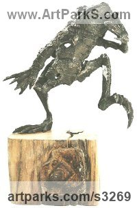 Reptiles Sculpture and Amphibian Sculpture by sculptor artist Olivia Ferrier titled: 'Frog Leaping (Big Semi abstract bronze Yard or garden sculptures)' in Bronze