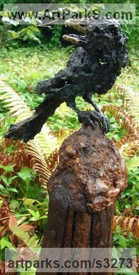 Bronze Birds Sculptures or Statues sculpture by Olivia Ferrier titled: 'Sqwalk (bronze Young Crow life size Perched sculptures/statue)'