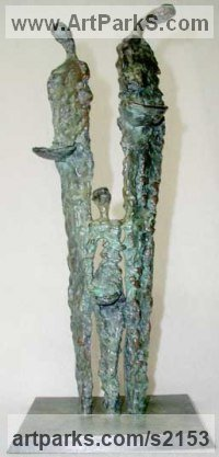 Bronze Human Form: Abstract sculpture by P�draic Reaney titled: 'Famine Family (Small bronze Thin People abstract statuettes)'