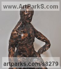Bronze Emotion sculpture by Pam Foley titled: 'Climbing Up, or Down'
