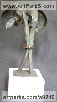 Bronze on stone Wedding Anniversary Gift or Present Sculptures Statues statuettes sculpture by Biela Panufnik titled: 'Big Union Elephants (Marriage Love Token sculpture)'
