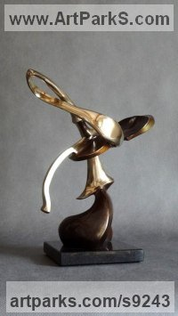 Bronze on stone Musician and Musical sculpture by Panufnik Biela titled: 'Embraced Litte Violin (Contemporary Musical statue)'