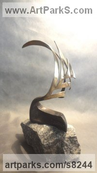 Bronze on stone Cloud, Breeze, Wave and Wind sculpture by Panufnik Biela titled: 'Curled Boat (Little Contemporary Sailing statuette)'