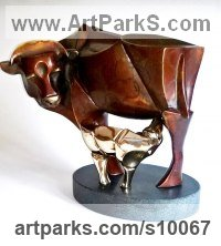 Bronze on granite Animal Abstract Contemporary Modern Stylised Minimalist sculpture by Panufnik Biela titled: 'La Vache Maman (abstract Cow and Calf sculptures)'