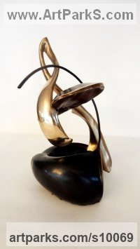 Bronze Musician and Musical sculpture by Panufnik Biela titled: 'Maharaja`s Violin (abstract Small Violin sculpture)'