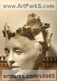 Terracotta Busts and Heads Sculptures Statues statuettes Commissions Bespoke Custom Portrait Memorial Commemorative sculpture or statue sculpture by Paola Grizi titled: 'absent-mindedly (abstract lovely Woman`sFaces statue)'