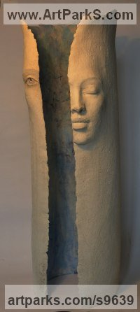 Terracotta Column Pillar Columnar Stele sculpture statue statuary sculpture by Paola Grizi titled: 'Dreaming'