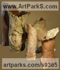 Terracotta Installation sculpture by Paola Grizi titled: 'Enchanted (Calm abstract female Girl`s Face sculpture)'