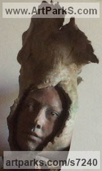 Ceramic/Terracotta Ceramic sculpture by Paola Grizi titled: 'lucida-mente (Girl`s Bust Head Face sculpture statues)'