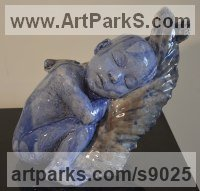 Ceramic Contemplative, Restful, Thougtful sculpture by Paola Grizi titled: 'On the Wings (Sleeping Baby Angel ceramic statuettes)'