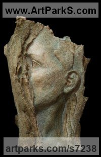 Refractory terracotta Wall Mounted or Wall Hanging sculpture by Paola Grizi titled: 'Rivelazione (Emerging Girl`s Face Bust ceramic statues)'