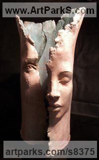 Terracotta Column Pillar Columnar sculpture statue statuary sculpture by Paola Grizi titled: 'the dream'