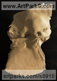 Terracotta Human Form: Abstract sculpture by Paola Grizi titled: 'Wastepaper'