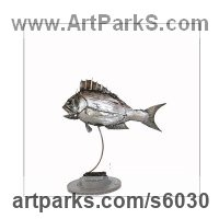 Steel Sea Fish sculpture by Patrice Mesnier titled: 'Daurade (Welded fabricated Steel Metal Sea Bream sculptures)'