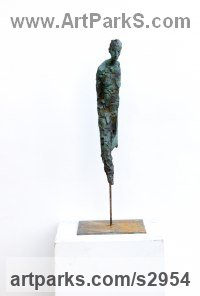Terracota patinada Human Form: Abstract sculpture by sculptor Patrícia Riveras titled: 'Opus#12 (Solitary abstract figurative Man statue)'