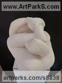 French Limestone Nude sculpture statue statuette Figurine Ornament sculpture by Patrick Barker titled: 'In a tangle (Fun Curled up Man Stone garden statues)'