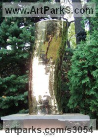 Column Pillar Columnar Stele sculpture statue statuary by sculptor artist Patrick Mateescu titled: 'Grace (garden Decoration Gilded abstract Yard Art)' in Gilded stoneware