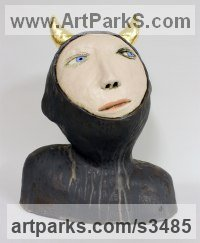 Ceramic, gold leaf Male Men Youths Masculine sculpturettes figurines sculpture by sculptor Paul Cox titled: 'Woodsman'