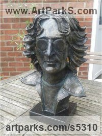 Bronze impregnated resin Pop Art sculpture by Paul Fay titled: 'Imagine (John Lennon Bust lost Icon Series No 1 sculptures)'