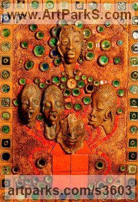 Ceramic Mosaic sculpture by Paul Hardcastle titled: 'Mother Nature and her Children The Four Elements'