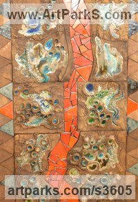 Ceramic Mosaic sculpture by Paul Hardcastle titled: 'Rift Valley (Colourful ceramic abstract Mosaic Wall Art sculpture)'