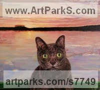 Acrylic on canvas board Cats sculpture by Paul John Grundy titled: 'Missing owl- cat in a Pea Green Boat (Painting)'