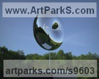 Stainless Steel Small / Little Abstract Contemporary Sculptures / Statues sculpture by Paul Wesson titled: 'Black Hole No.1 (stainless Steel abstract Disc statue)'