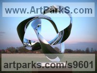 Stainless Steel Abstract Contemporary Modern Outdoor Outside Garden / Yard Sculptures Statues statuary sculpture by Paul Wesson titled: 'Forever Cycle #2 (stainless Steel Looping sculptures)'