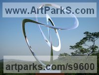 Stainless Steel Abstract Dance / Dancer sculpture by Paul Wesson titled: 'Swing Space No.9 (stainless Steel Loop garden statue)'